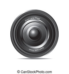 zoom lens - black zoom lens with shadow over white...