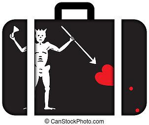blackbeard, kalóz, flag., bőrönd, ikon, utazás, és, szállítás, fogalom