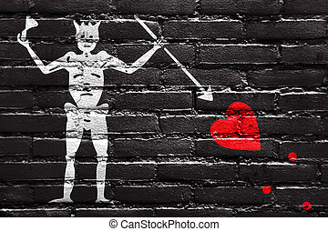 Blackbeard Pirate Flag, painted on brick wall