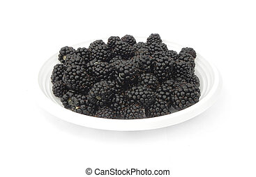 Blackberries are on a plate.