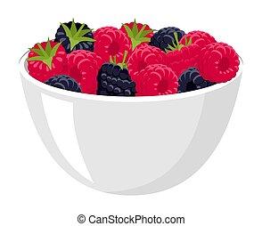 blackberries., fondo, more, grande, isolato, illustrazione, lamponi, vettore, mucchio, bowl., fresco, bianco