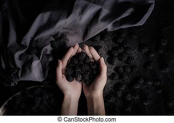 blackberries in hands