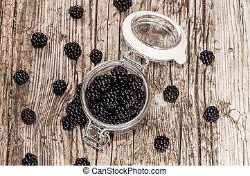 blackberries, ind, en, glas