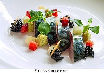 blackberries., scombro, su, cotto ferri, chiudere, fish
