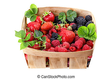 blackberries strawberries in a basket Isolated on white...