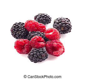 blackberries with raspberries an isolated on white background