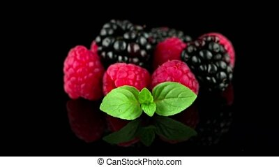 Blackberry and raspberry - Composition from a blackberry and...
