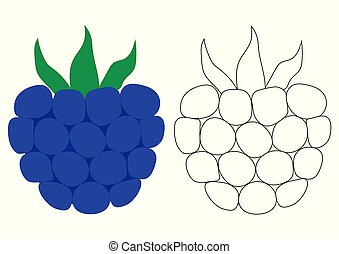 Blackberry cartoon. Coloring page. Game for children.