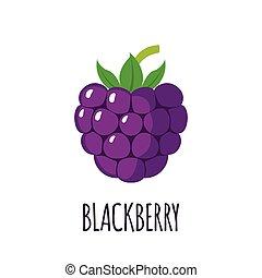 Blackberry fruit icon in flat style - Blackberry fruit in...