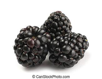 Blackberry fruit heap detail on white background