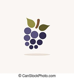 Blackberry. Icon with shadow on a beige background. Fruit vector illustration