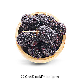 blackberry in wooden bowl isolated on white background. Top view.
