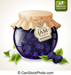 Blackberry jam glass - Natural organic homemade forest...