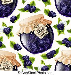 Blackberry jam glass - Natural organic homemade forest...