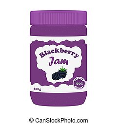 Blackberry jam in glass jar. Made in cartoon flat style.