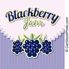 Blackberry jam label with title on striped background
