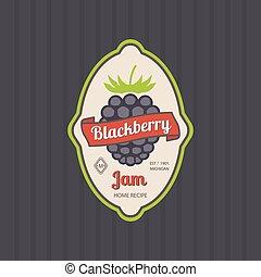 Blackberry jam retro fruit label