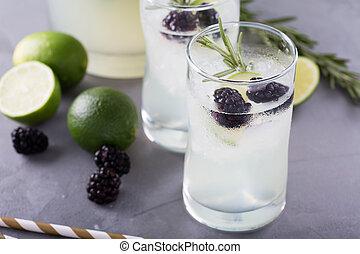 Blackberry lime and rosemary lemonade
