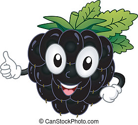 Blackberry Mascot - Mascot Illustration Featuring a...