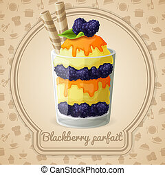 Blackberry parfait badge - Blackberry parfait dessert with...