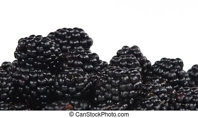 Blackberry rotating on white background - Many fresh...