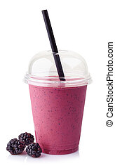 Glass of blackberry smoothie isolated on white background