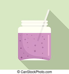 Blackberry smoothie icon, flat style
