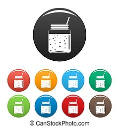Blackberry smoothie icons set color
