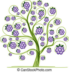 Blackberry tree for your design. Vector illustration