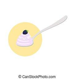 Blackberry yogurt on the spoon. Milk cream product. Flat style.