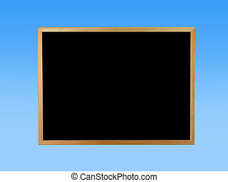 A blackboard isolated against a blue background