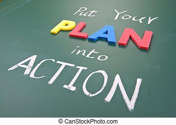 blackboard., akció, terv, szavak, dobás, -e