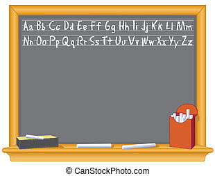Blackboard, Alphabet, Eraser, Chalk