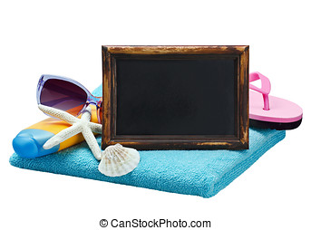 blackboard and accessories for the beach