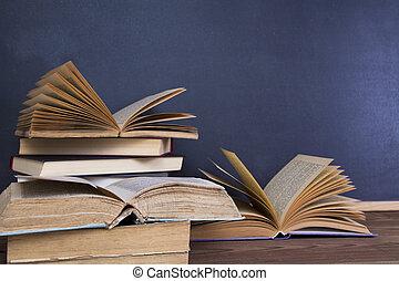 blackboard and books on desk