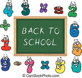Blackboard and cartoon colorful numbers