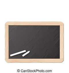 Blackboard and chalk, realistic vector illustration