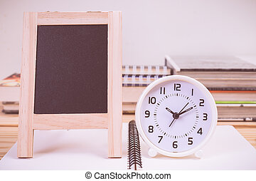blackboard and clock with vintage color effected