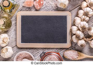 Blackboard and garlic