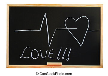 blackboard and heart showing love and medical concept