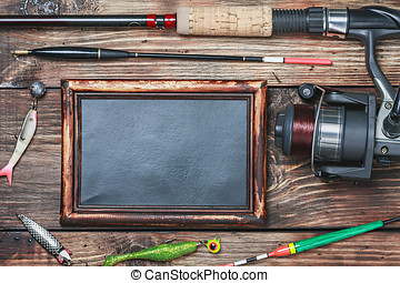 blackboard and other fishing accessories - blackboard with...