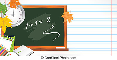 Blackboard and school accessories. Back to school. Vector...