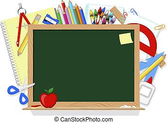 blackboard and school supplies