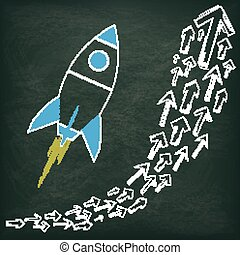 Blackboard Arrows Growth Rocket - Blackboard with growing...