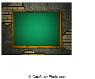 Blackboard at grunge wall - School blackboard at grunge wall...