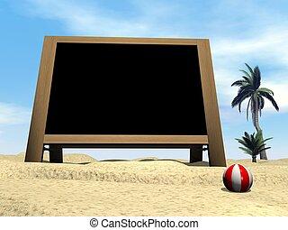 Blackboard at the beach - 3D render