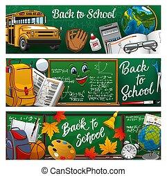 Blackboard. Back to school lettering study symbols