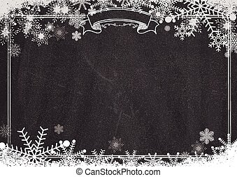 Blackboard background with border, winter snowflake and snow