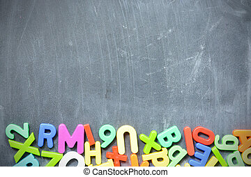 Blackboard background with school supplies suggesting back to school season