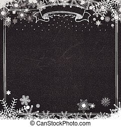 Blackboard background with winter snow and snowflakes
